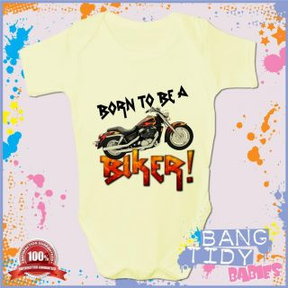Funny Baby Grow Born to Be A Biker Cool Boy Girl Babies Clothing Fun Gift