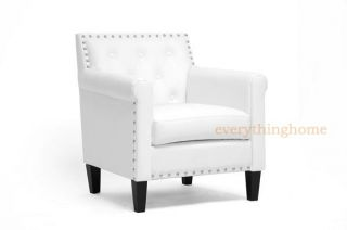 Modern White Faux Leather Designer Club Arm Accent Chair Nail Head Trim New