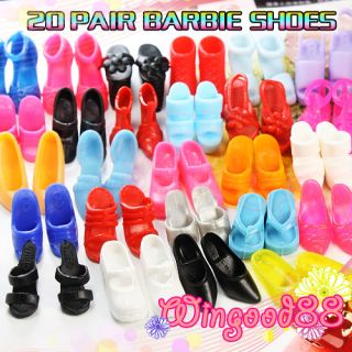 20 Pairs Party Shoes Special Various Styles Lot Gift for Barbie Dolls Accessory
