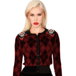 Voodoo Vixen Argyle Sugar Skull Cardigan Retro Pin Up Rockabilly Punk Gothic