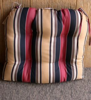 1 Outdoor Patio Wicker Chair Cushion Red Black Gold Stripe 20 x 18 x 3 5 New