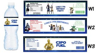 Star Wars Clone Printed Water Bottle Labels Birthday Party Favors Supplies