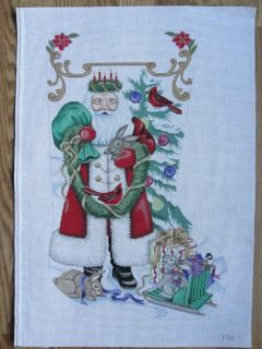 Santa Bunnies Hand Painted Needlepoint Canvas Christmas Stocking AP1761