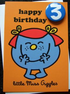 Mr Men or Little Miss Age 1 2 3 4 5 or 6 Birthday Card