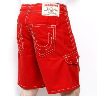 Mens True Religion Jeans Swimwear Board Shorts Red Swim Trunks
