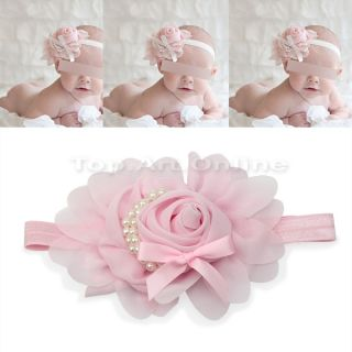 Lovely Baby Girl Toddler Elastic Rose Flower Faux Pearl Headband Hairband Pink