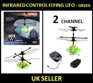 Infrared Flying UFO Saucer Remote Control Air Floating LED Flashing Lights Green