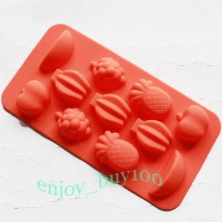 Silicone Mold Ice Tray Fruit Apple Grape Banana Shaped Cube Jello Fun Party