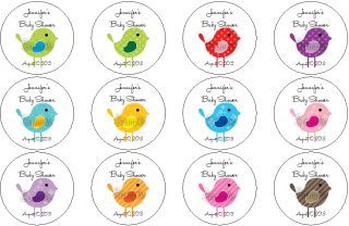 Personalized Little Birdies Birds Baby Shower Envelope Label Seal Stickers