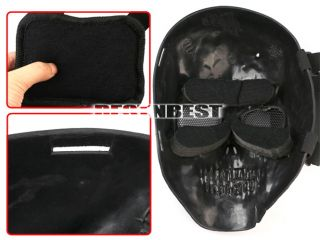 Black Skull Skeleton Airsoft Paintball BB Gun Game Full Face Protect Mask New