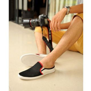 Summer Men's Mesh Breathable Canvas Casual Flats Shoes Slip on Slippers XMR011