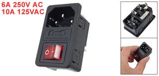 Red Light Boat Rocker Switch Fused IEC 320 C14 Inlet Power Socket Connector Plug