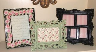 3 Beautiful Shabby Cottage Chic Ornate Picture Frames Black Pink Sage New