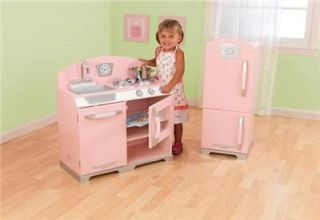 KidKraft Pink Retro Kids Pretend Kitchen Refrigerator