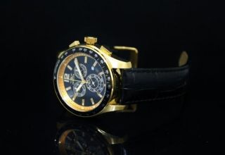 Invicta Men 18K Gold Plated Swiss Chronograph Black Dial Leather Strap
