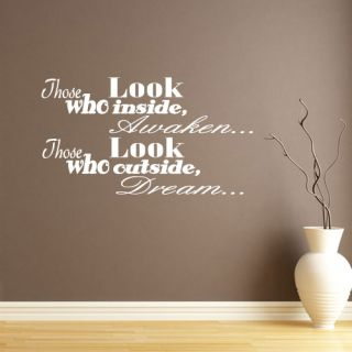 Those Who Look Outside Dream Vinyl Wall Art Quote Sticker Transfer QU290