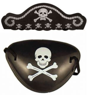 Pirate Hat Eye Patch Boys Girls Kids Swashbuckle Fancy Dress Costume