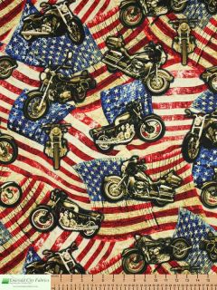 Timeless Treasures Harley Davidson Motorcycle Flags Cotton Quilt Fabric Yardage