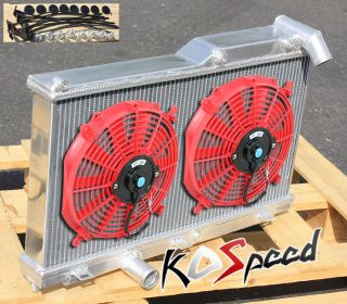 "93 97 RX7 FD FD3S Manual Dual Core 2 Row Aluminum Racing Radiator 12"" Red Fans"