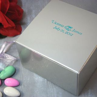 "Personalized Wedding Favor Candy Cupcake Treat Gift Box 4x4x2"" 25 Pcs"