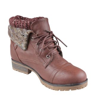 New Womens Short Military Combat Boot Lace Up Leather Flip Over Knitted Collar