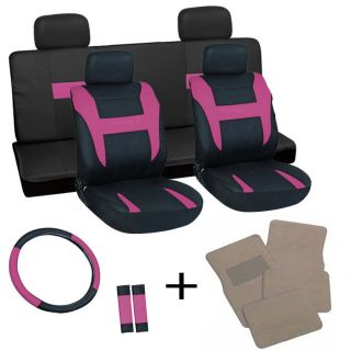 17pc Set Pink Black Car Seat Covers Wheel Belt Pad Head Rest Tan Floor Mats