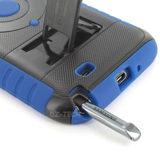 Black Blue Tri Shield Heavy Duty Hybrid Hard Case Cover Samsung Galaxy Note II 2