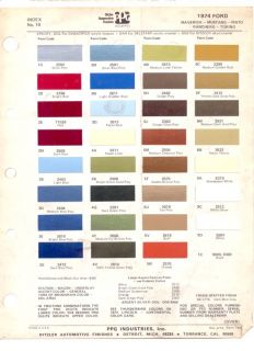 PPG Paint Chip Code Color Chart 1974 Ford Mustang Gran Torino Pinto Detroit