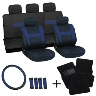 20pc Set Blue Black Auto Car Seat Covers Wheel Belt Pads Head Rests Floor Mats