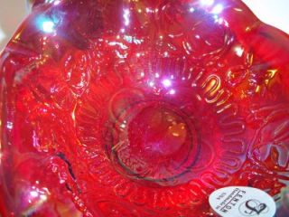 Fenton Glass Ruby Red Carnival Dragon Lotus Mini Basket Limited Edition
