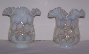 Pair of Fenton Coin Spot Dot French Opalescent Lamp Shades Globes