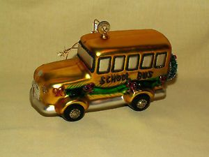 School Bus Glass Christmas Holiday Tree Ornament Glitter Wreath Red Glitter