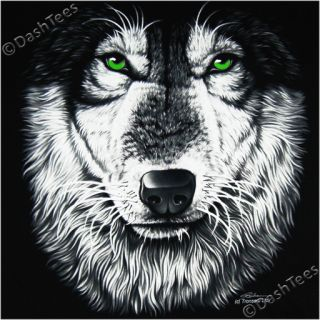 Lone Grey Wolf Wolves Green Eyes Gothic Black T Shirt