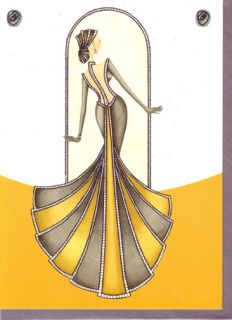 "Glamour Fashion Greeting Cards Art Deco Yellow Set 3 ""Champagne"" Woman Gown"