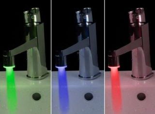 Style Temperature Sensor LED Light Water Faucet Tap 3 Color RGB Glow Shower One