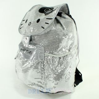 "Sanrio Hello Kitty Glitter Silver Sequins 16"" Large Backpack Girls Book Bag"
