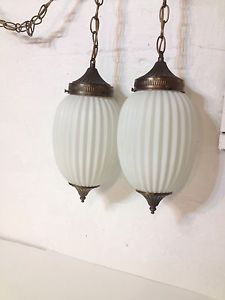 Double Hanging Swag Lamp White Glass Globes Hollywood Regency Vintage Lights