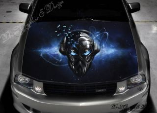 Hood Wrap Full Color Print Vinyl Decal Fit Any Car Skull with Headphones 184