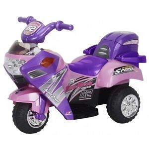 Girls Pink Kids Battery Powered Ride on Toy 6V Volt Motorcycle Trike Electric