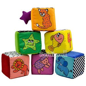 Baby Kids Children Soft Cloth Animal Digital Pattern Stacking Blocks Toys BE0D