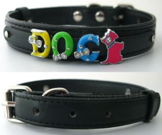 1pcs 400 15mm Black Color Name Personalized Pet Dog Cat Collar PU Leather