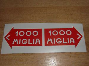 1000 Mille Miglia Classic Car Style Stickers 100mm Pair Decals Graphics