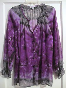 Fashion Bug Women's Purple Gray Black Sheer Flowy Top Blouse Shirt Size L
