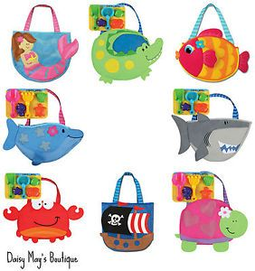 Stephen Joseph Assorted Beach Tote Bags for Kids w Sand Toys Girls Boys