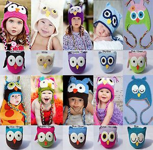 Cute Handmade Knit Owl Dolls Toys Hats Baby Children Boys Girls Photograph New