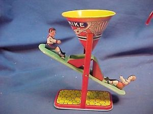1930s Busy Mike Kids on See Saw Tin Litho Sand Toy by J Chein