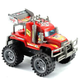 "10"" Friction Pull Back Cross Country Cyclone Red Monster Truck Kids Toy Vehicle"