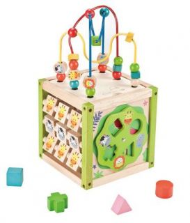 Everearth Activity Cube Wooden Baby Toy Early Learning