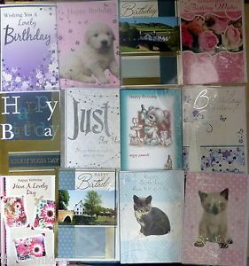 36 Assorted Happy Birthday Greeting Cards Envelopes Wholesale Stock Bargain