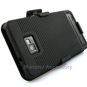 Black Kickstand Holster Rubberized Hard Case Cover Samsung Galaxy S2 at T I777